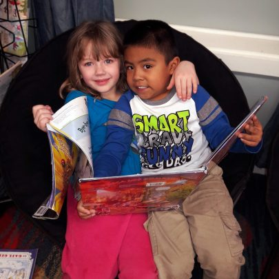 Lincoln elementary students reading together